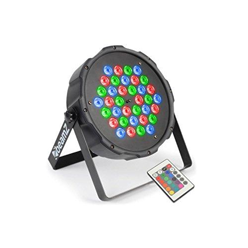 beamZ FlatPAR 36 x 1W PAR-Strahler LED Scheinwerfer Bühnenscheinwerfer (6-Kanal-DMX-Steuerung, 36 x 1W RGB-LEDs, inkl. Infrarot-Fernbedienung, integr. Mikrofon, Automatik-Modus & Musiksteuerung, eingebaute Programme, zur Wand & Deckenmontage geeignet)