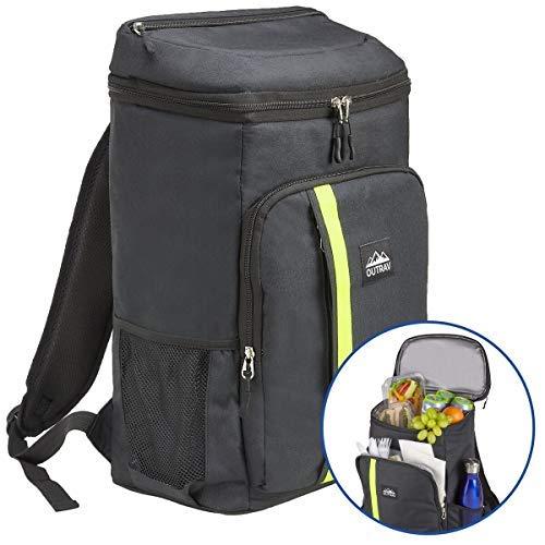 Outrav Camping Rucksack-Kühler - vollständig isolierte Kühltasche mit Reißverschlussfächern, Netztaschen und Flaschenöffner - 24 Dosen Kapazität (Strap Flaschenöffner)