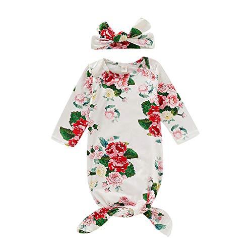 ,WFRAU Neugeborene Jungen Mädchen Blumen Krippe Langarm Kleid Blumenhut Schlaf Wickeldecke 2 Teilesatz,Kleinkind Baby Schlaf Wickel Wickel Warm Kinderwagen Wickel Baby Schlaf Pyjama ()