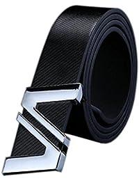 Fami Fashion Hommes Mode Automatique Lettre Boucle Cuir Taille Ceinture à  boucle 502b250e1df