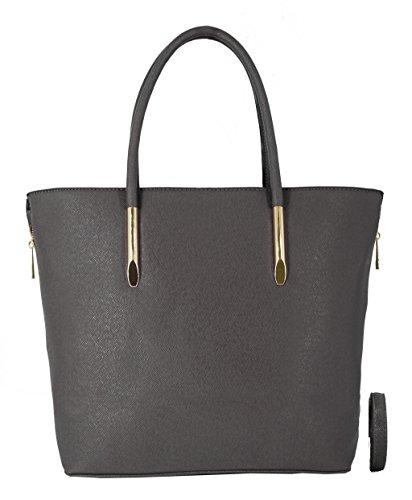 CRAZYCHIC - Damen Umhängetasche Women mit Gold Reißverschluss und Erweiterbare Seiten - Mode und praktisch - Große Tasche Grau