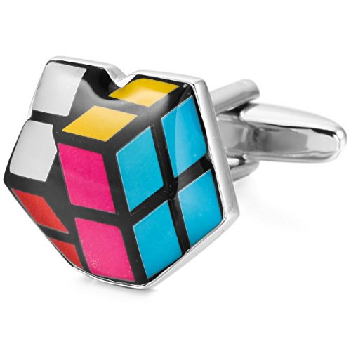 INBLUE Herren 2 Stück rhodiniert Emaille Manschettenknöpfe Mehrfarbig Cube Shirt Hochzeit Business 1 Paar Set