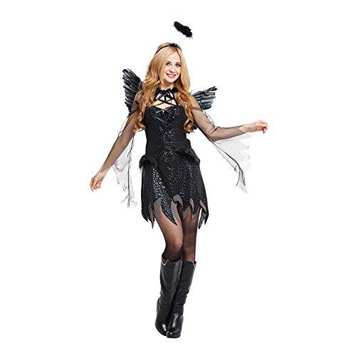 Damen Dark Angel Kostüm, Kleid, Kopfschmuck und ()
