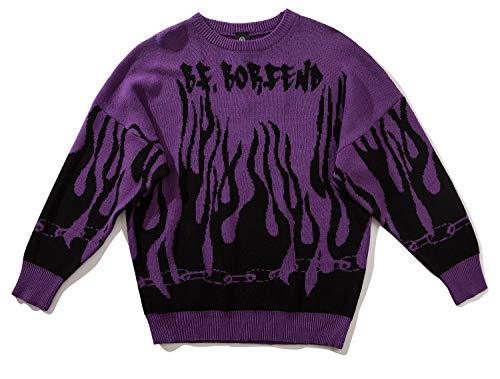Pizoff Herren Hip-Hop Pullover Sweater - Oversized übergroß Strickpullover beiläufig Straße Stil Feuer Lila AL129-purple-XL