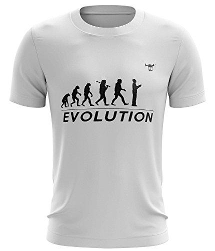 Stylotex Undying hegemony T-Shirt Drone Evolution Funktions-Stoff schnelltrocknend, Farbe:weiss;Größe:S