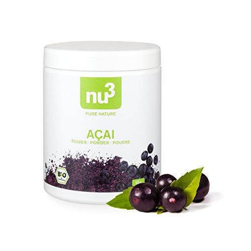 nu3 Açai orgánico – Polvo 65g – Bayas de Acai de Amazonia – Súper alimento orgánico de calidad obtenido mediante un secado suave