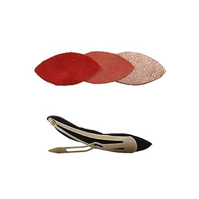 Barrette Clip Cheveux JUNE Fire Pétales Cuir Rouge Or Rose Mandarine Clémence Cabanes