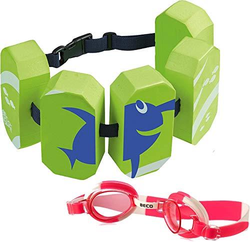 Beco Schwimmgürtel (grün + Schwimmbrille pink)
