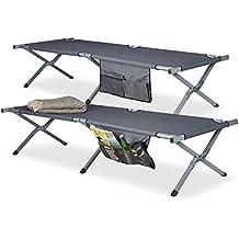 relaxdays Feldbett faltbar 2er Set XL, Polyester, Campingliege extra hoch, HBT: 190x64x43 cm, Transporttasche, Farbe