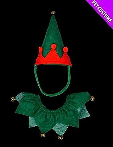Rote und grüne Elf Pet Set - Hut und Halsband - Geeignet für Hunde & Katzen (Elf Kostüm Uk)