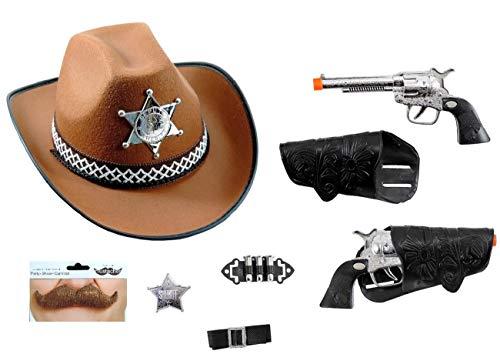 Gh kit accessori travestimento sceriffo costume carnevale cowboy bambino cappello pistole distintivo proiettili baffi sceriffo