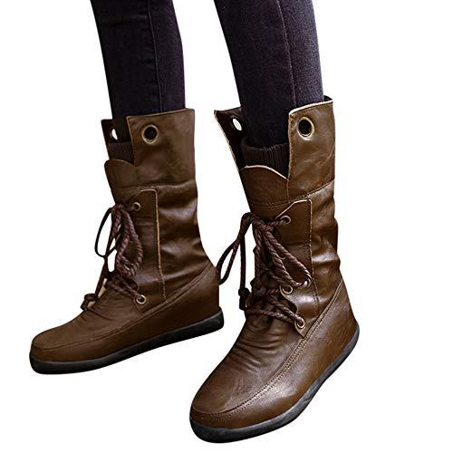 TianWlio Stiefel Frauen Herbst Winter Schuhe Stiefeletten Boots Runde Zehenschuhe Kreuzgurte Warme Stiefel Kurze Plüschschuhe Stiefel Braun 40