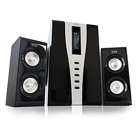 Arion Legacy AC Powered 2.1 Speaker System with Massive Subwoofer and Remote Control 140W Piano Black (AR508)