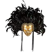 Máscara Veneciana Clásica Decorativa Eyes Wide Shut Con Decoración Craquelada Y Hoja De Oro Y Plumas - Made In Italy