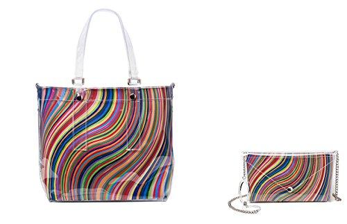 BI-BAG borsa donna modello EASY VINTAGE + pochette Multicolore A Righe