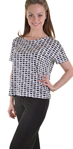 DKNY Designer Kurz Ärmel Runde Hals Pyjama Top, Weiß Street Logo, UK 10bis UK 18 Weiß