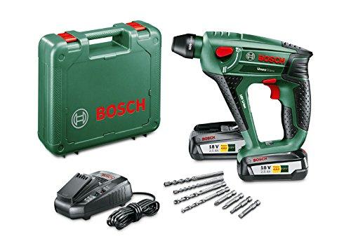 Preisvergleich Produktbild Bosch DIY Akku-Bohrhammer Uneo Maxx, 2 Akkus, Ladegerät, 2 x Betonbohrer, 2 x Universalbohrer, 4 Bits, Koffer (18 V, 2,5 Ah, max. Bohr-Ø Stahl: 8 mm, Beton: 10 mm, Holz: 10 mm)
