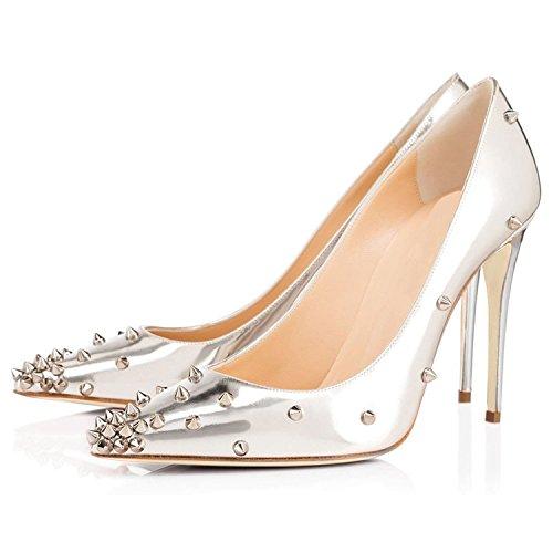 Arc-en-ciel womenâ s Schuhe mit hohen Absätzen spitze Zehe verzierte Pumpen Silber-