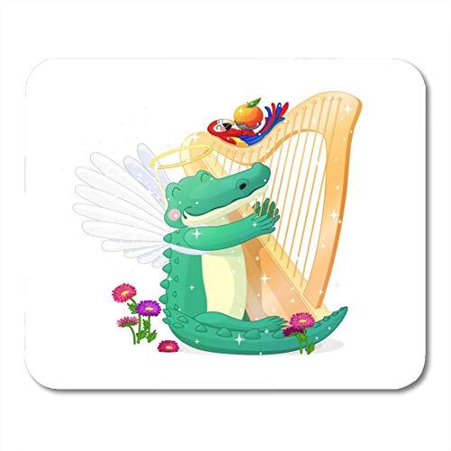 Woodland Weißen Schreibtisch (Luancrop Mauspads Bunte Alligator Tiere Kinderzimmer Wand Zeichentrickfiguren Fairy World Woodland Story Grafik Weiß 01 Mauspad für Notebooks, Desktop-Computer Bürobedarf)