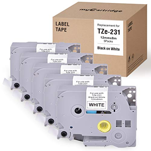 Mycartridge 5 pezzi compatibile Brother TZe-231 TZe 231 12mm x 8m Nastro per Brother P-Touch 1000 1010 1200 1280 D210 D400 D400VP E100 E100VP H100LB H105 P750W (nero su bianco)