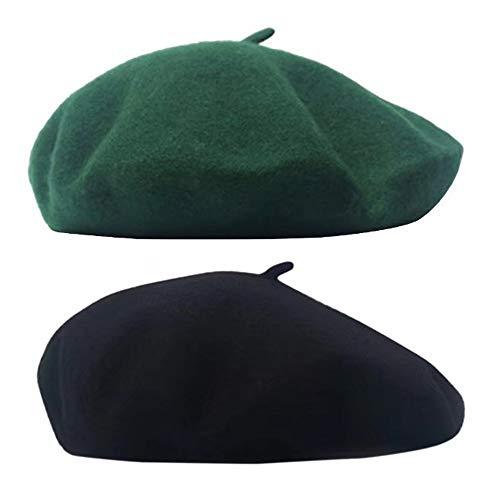 SIEBENEINSY Klassische Baskenmützen Damen Wollmütze französischer Hut Damenmütze Baske Beret Cap 2pcs Beanie Maler Kappe