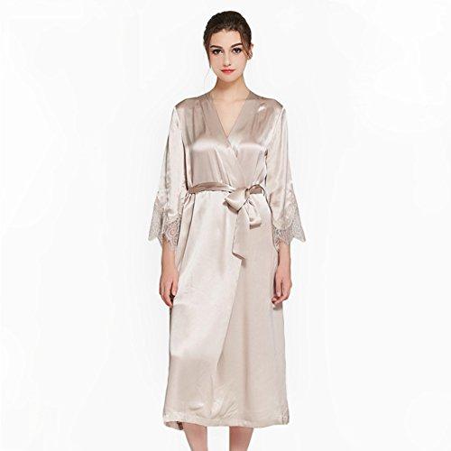 SQINAA 100% silk women's robe,Loose kimono lace bathrobe 3 4 sleeve sleepwear satin pajama-B S