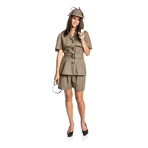 Kostümplanet® Detektiv Kostüm Damen mit Detektiv-Mütze sexy Detektivkostüm Damenkostüm Dedektiv Größe - Sherlock Holmes Kostüm Frauen