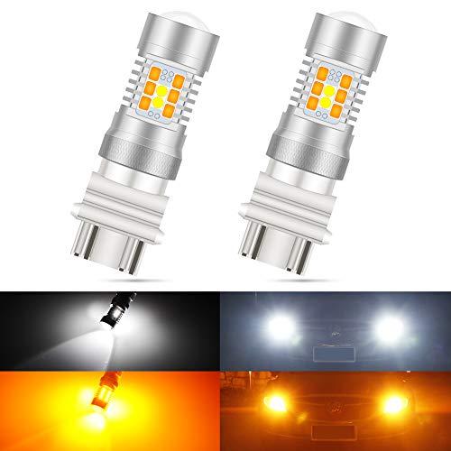 KaTur 3157 3155 3457 Ampoules LED Switchback Blanc/Jaune Haute Puissance 3030 Jeu de puces extrêmement Lumineux avec projecteur pour Clignotants et Feux diurnes/DRL (Pack de 2)