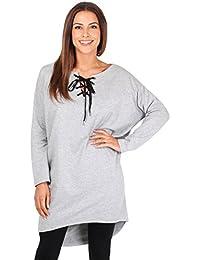 KRISP® Femmes Sweatshirt Top Oversized Asymétrique Col avec Lacets Nouveautés