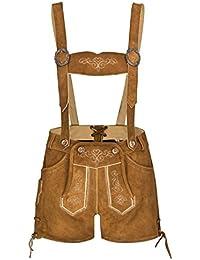 Damen 100% Wildleder - Trachtenlederhose Kurz Hotpants - Lederhose - Trachtenlederhose Damen kurz - Trachten Lederhose Damen Hellbraun - Trachtenhose Hotpants - Oktoberfest Lederhose - Lederhosen