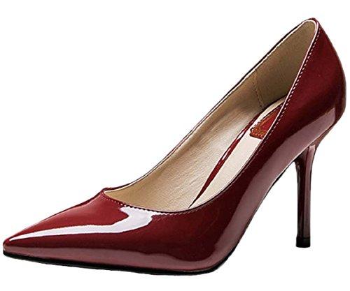 HooH Femmes Pointu Stiletto Escarpins 1485 Wine Red