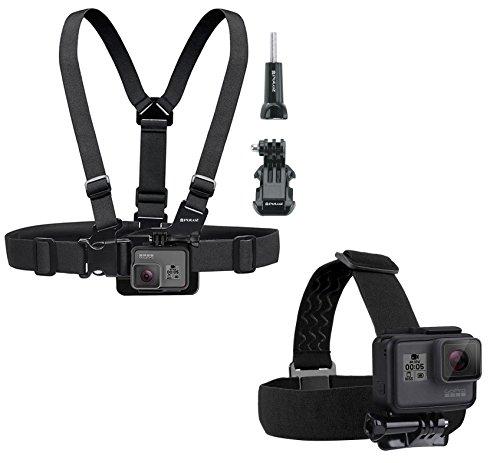 Brustgurt und Kopfband für GoPro, Puluz® - verstellbar, bequem, elastisch Einheitsgröße für alle Gurte und Helme für FUSION HERO 6 HERO 5 4 3+ 2 Session- und andere Action-Kameras mit J-Haken + Rändelschraube