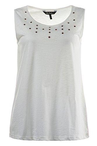 Ulla Popken Femme Grandes tailles Top Femme tendance uni à Clous Sans Manches Sweat-shirt Pull-over Jumper Tops Blouse 705096 Blanc Cassé