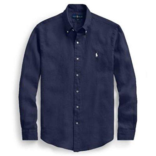 Ralph lauren camicia uomo slim-fit lino botton down 710-688595 (m, 002 blu)