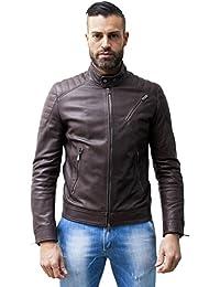 9ade029db8f2 D Arienzo - U411 BIKER • couleur marron foncée • blouson cuir homme style  motard