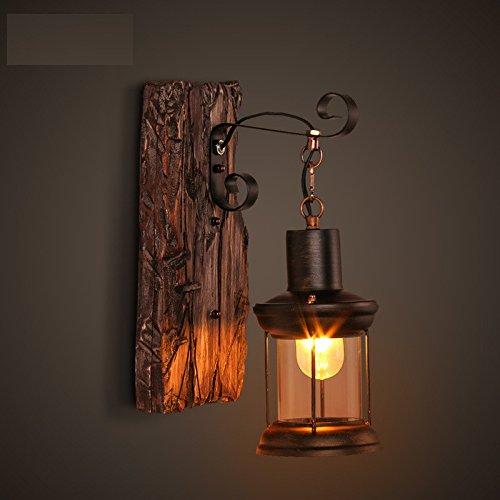 Vintage alte hölzerne Wand Lampe Restaurant Café kreative Persönlichkeit und Eisen Kunst Glas Holz
