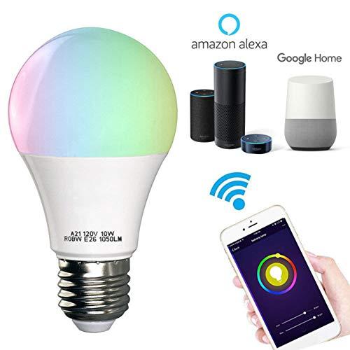 Hongfutong Smart WLAN LED Lampe Glühbirne, Mehrfarbige LED Dimmbare Lampe, E27 11W LED Lampe Erweiterung, Funktioniert Ohne Hub, LED Lampe Erweiterung