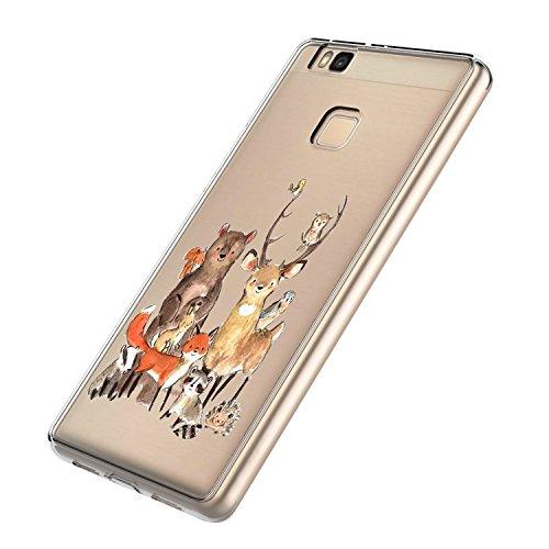 Wouier Huawei P9 Lite Hülle, Fox pattern Schutzhülle Silikon Crystal Ultra Durchsichtige Backcover Soft TPU Bumper Backcover Case für Huawei P9 Lite (Color 3, Huawei P9 Lite) -