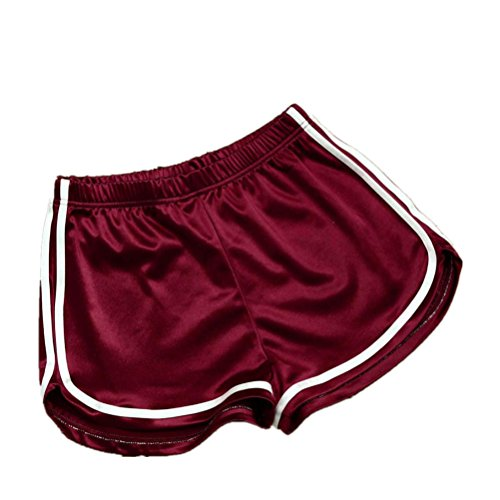 Hosen, Frashing Frauen Sommer Casual Shorts Hosen Hohe Taille Sport Shorts Damen Sport-Shorts / Retro-Shorts Damen Kurz Hose Pants Mini Hotpants Strandhose Sommerhosen für Damen (S, rot) (Mini-spandex-leggings)