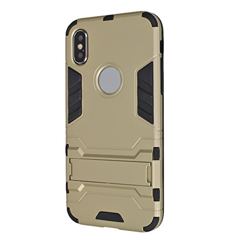 iPhone X Case Armor, iPhone 10 Hülle Armor mit Stand, iPhone X Hard Case, Moon mood® Reifen Striped Handy Fall 2 in 1 Hybrid Armor Schutzhülle für Apple iPhone X / iPhone 10 5.8 Zoll Hart PC + Weich T A Gold