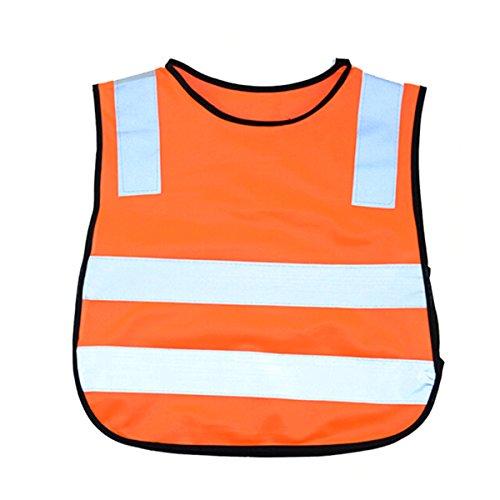 OULII Kindersicherheitsweste Reflektierende Warnweste für Kinder Outdoor Sport Nacht Schutz (Orange)