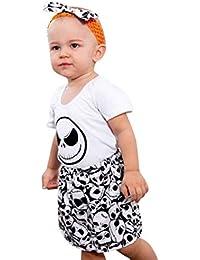 K-youth 3pcs Recién Nacido Infantil Bebé Chico Halloween Calavera Impresión Mameluco Bebe Niña Mono Moda Camisa Tops + Falda Corta y Diadema Conjunto de Ropa