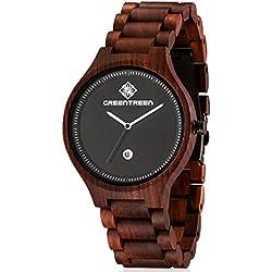 Greentreen Reloj de madera para hombre, Relojes de pulsera de madera con visualización de fecha, Hecho a mano por Sólido Banda de 22mm, Movimiento de cuarzo japonés Pantalla analógica