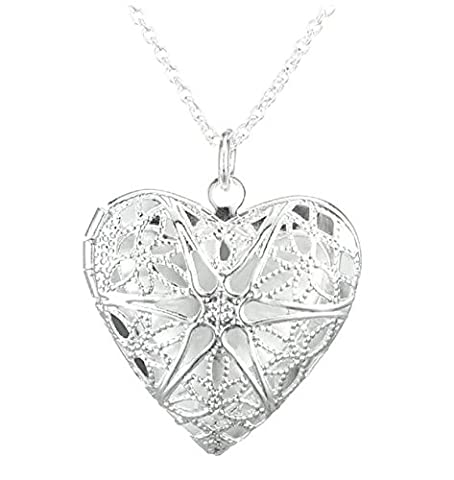 Silver Plated Heart Locket Necklace, Opens to Store your Loved Ones Photograph