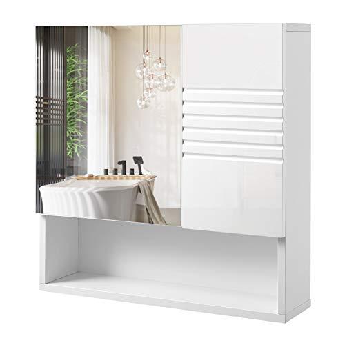 Vasagle armadietto con specchio in vetro temperato, mobile bagno sospeso con mensola e ripiani regolabili, mobiletto da parete, cerniere ammortizzate, 54 x 15 x 55 cm, bianco bbk21wt