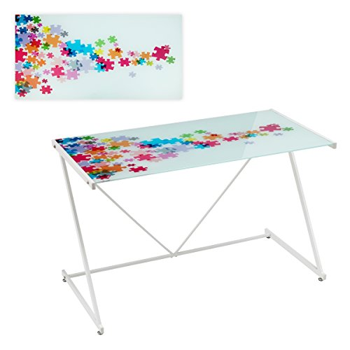 Mesa de escritorio de cristal blanca infantil para dormitorio Iris   LOLAhome