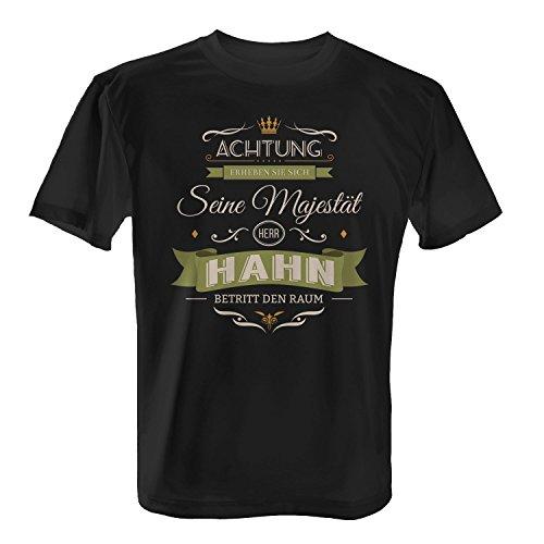Fashionalarm Herren T-Shirt - Seine Majestät Herr Hahn | Fun Shirt mit Spruch lustige Geburtstag Geschenk Idee Familienname Nachname Hochzeit Schwarz