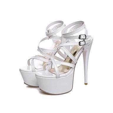 LvYuan Damen-Sandalen-Hochzeit Kleid Party & Festivität-Lackleder-Stöckelabsatz-Komfort Knöchelriemen-Schwarz Rot Weiß White