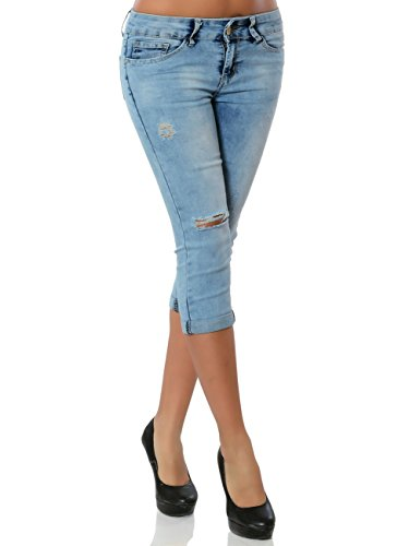 Damen High-Waist Capri-Jeans Sommerhose Kurze-Hose No 15859, Farbe:Blau, Größe:XS / 34
