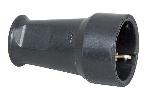 Kopp Schutzkontakt-Gummikupplung mit Knickschutz, IP20 Schutzklasse, 250 V (16A), Schutzkontakt Kupplung aus SEBS, bruchfest, schwarz, 180716003